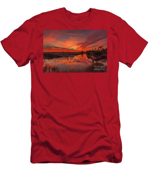 Explosive Sunset At Pine Glades Men's T-Shirt (Athletic Fit)