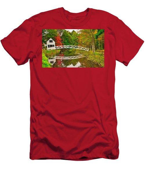 Fall Footbridge Reflection Men's T-Shirt (Athletic Fit)
