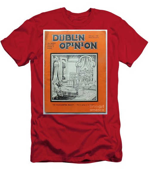 Men's T-Shirt (Athletic Fit) featuring the painting Feb1948 Dublin Opinion by Val Byrne