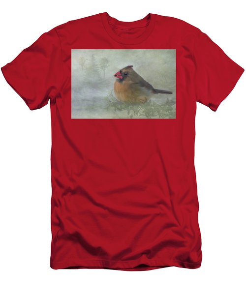 Men's T-Shirt (Athletic Fit) featuring the photograph Female Cardinal With Seed by Patti Deters