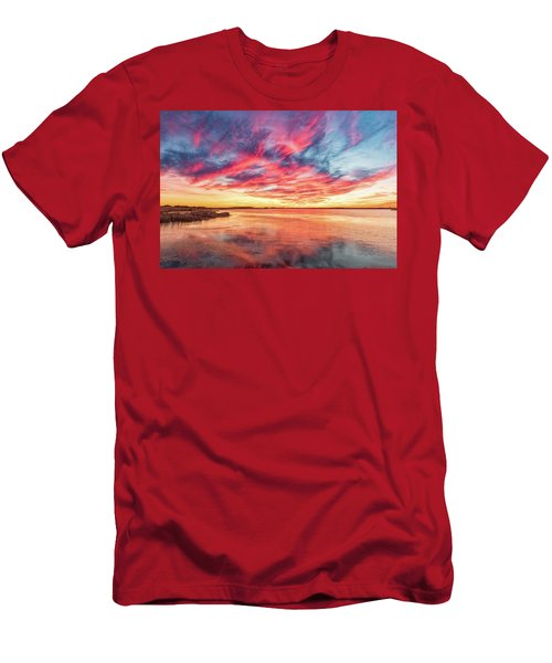 Men's T-Shirt (Athletic Fit) featuring the photograph Fiery Sky by Russell Pugh