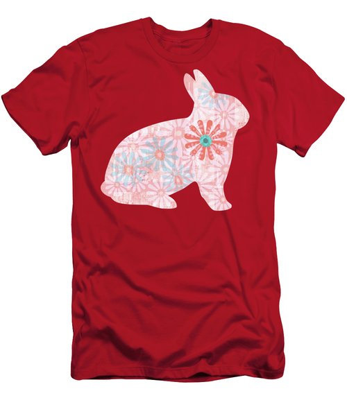 Floral Rabbit In Living Coral II Men's T-Shirt (Athletic Fit)