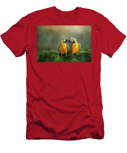 Gold And Blue Macaw Pair Men's T-Shirt (Athletic Fit)