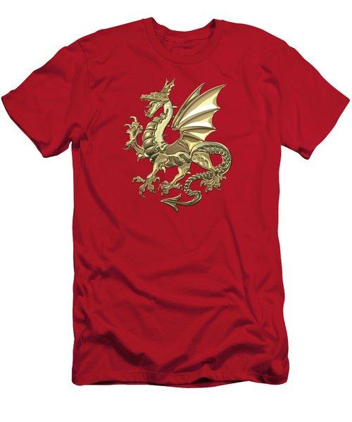 Gold Winged Norse Dragon - Icelandic Viking Landvaettir Over Red Velvet  Men's T-Shirt (Athletic Fit)