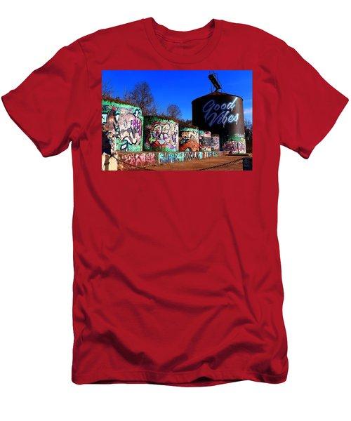 Good Vibes Asheville North Carolina Men's T-Shirt (Athletic Fit)