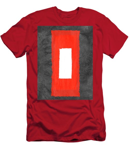 Grey And Red Abstract Iv Men's T-Shirt (Athletic Fit)