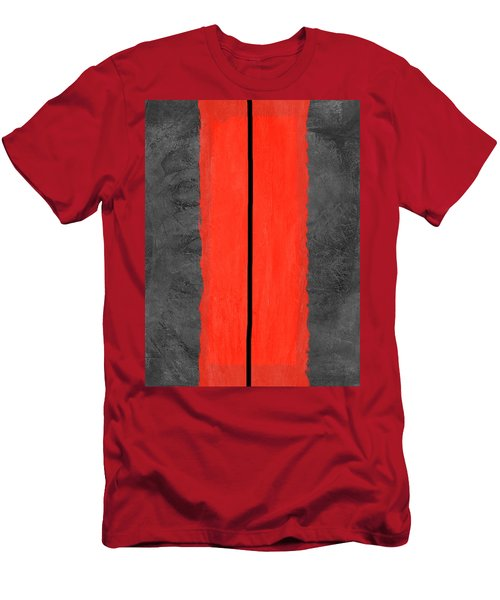 Grey And Red Abstract V Men's T-Shirt (Athletic Fit)