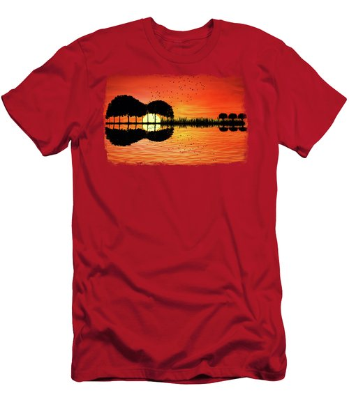 Guitar Island Sunset Men's T-Shirt (Athletic Fit)