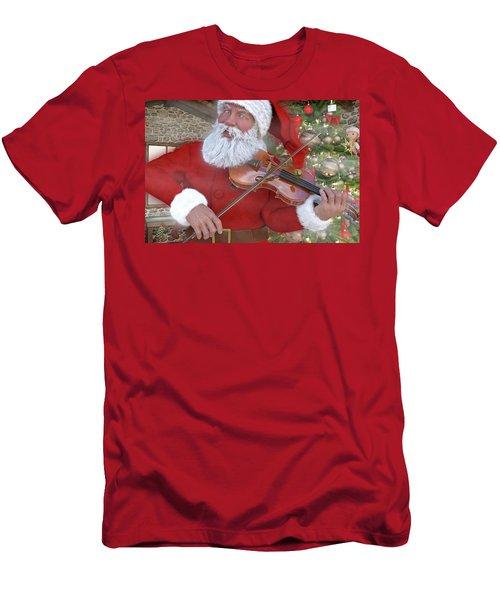 Holiday Santa Playing Violin Custom Men's T-Shirt (Athletic Fit)