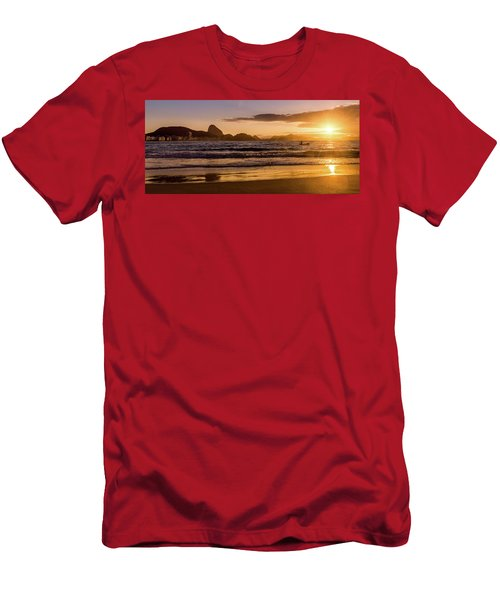 Idyllic Sunrise In Copacabana Beach In Rio De Janeiro, Brazil Men's T-Shirt (Athletic Fit)