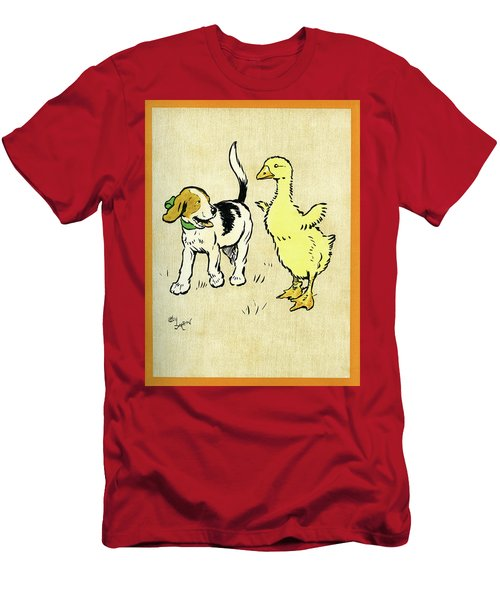 Illustration Of Puppy And Gosling Men's T-Shirt (Athletic Fit)