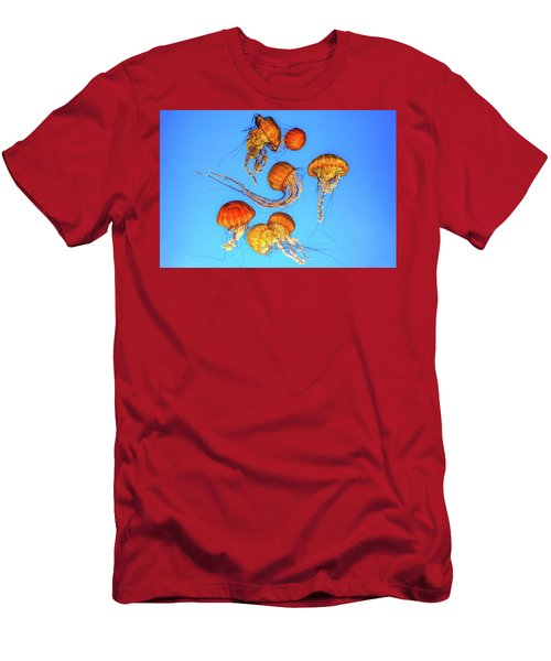 Jellyfish And Blue Men's T-Shirt (Athletic Fit)