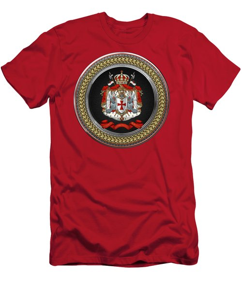 Knights Templar - Coat Of Arms Special Edition Over Red Leather Men's T-Shirt (Athletic Fit)