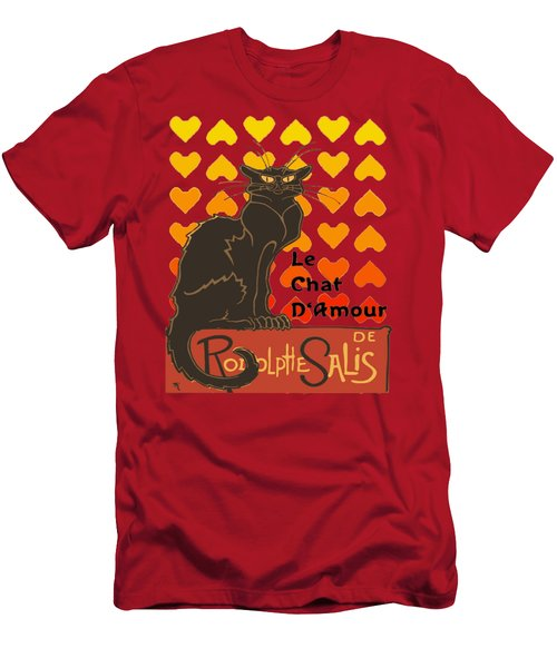 Le Chat D Amour Valentine Cat With Lovehearts Men's T-Shirt (Athletic Fit)