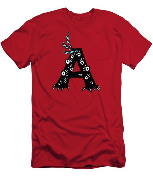 Letter A Funny Monster Drawing Men's T-Shirt (Athletic Fit)