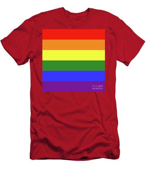 Lgbt 6 Color Rainbow Flag Men's T-Shirt (Athletic Fit)