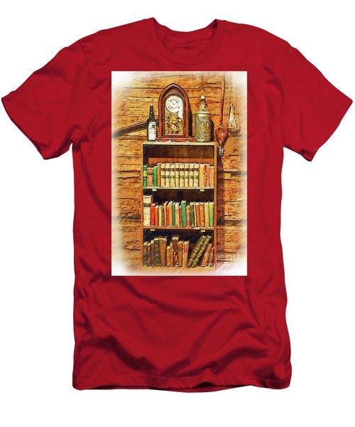 Log Cabin Book Case Sketched Men's T-Shirt (Athletic Fit)