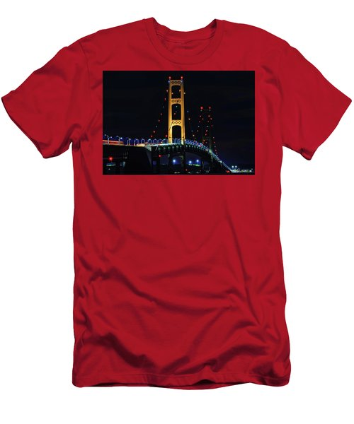 Men's T-Shirt (Athletic Fit) featuring the photograph Mackinac Bridge Lit Up by Dan Sproul