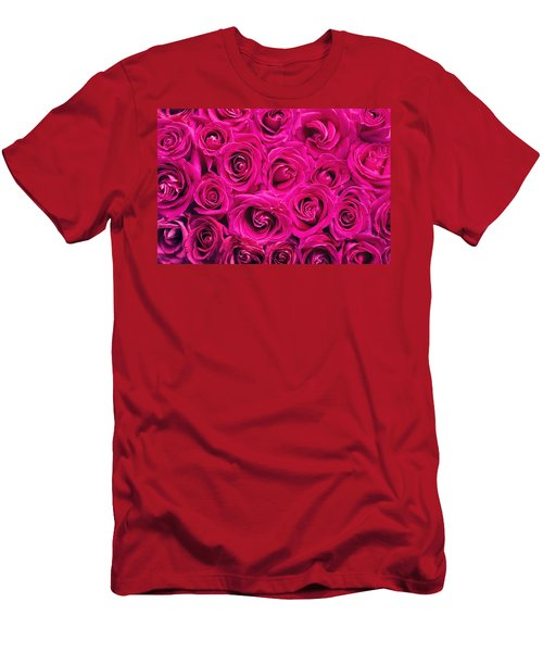 Magenta Roses Men's T-Shirt (Athletic Fit)