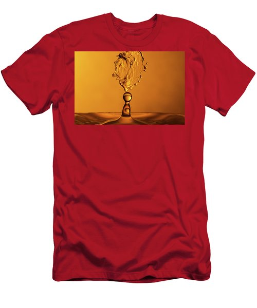 Men's T-Shirt (Athletic Fit) featuring the photograph Molten Caramel Water Drop Collision by SR Green