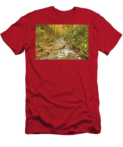 Men's T-Shirt (Athletic Fit) featuring the photograph Mountain Stream by Meta Gatschenberger