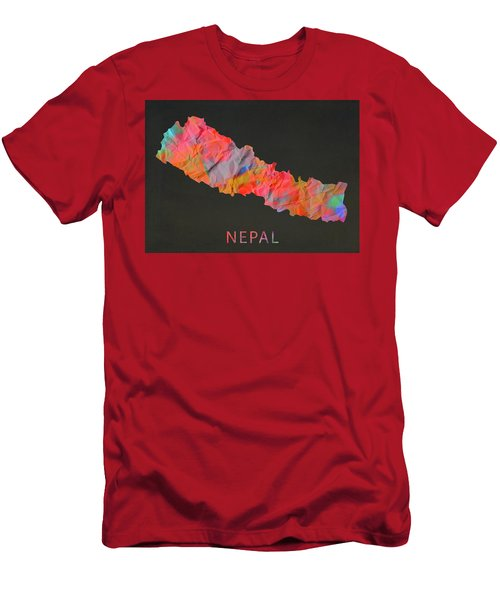 Nepal Tie Dye Country Map Men's T-Shirt (Athletic Fit)