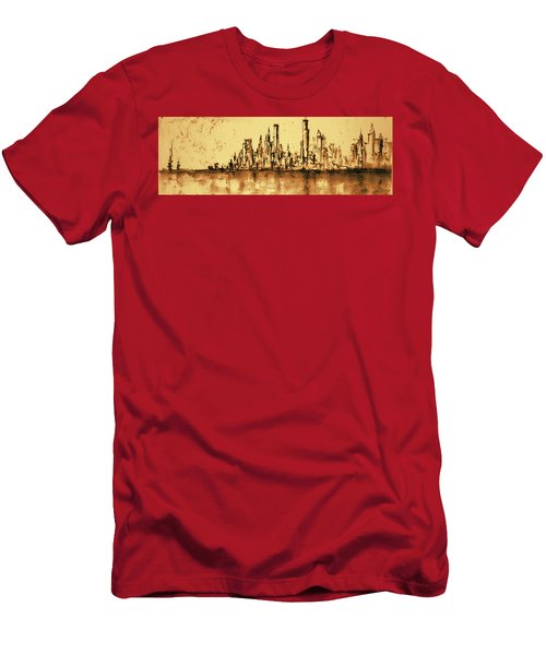 New York City Skyline 79 - Water Color Drawing Men's T-Shirt (Athletic Fit)