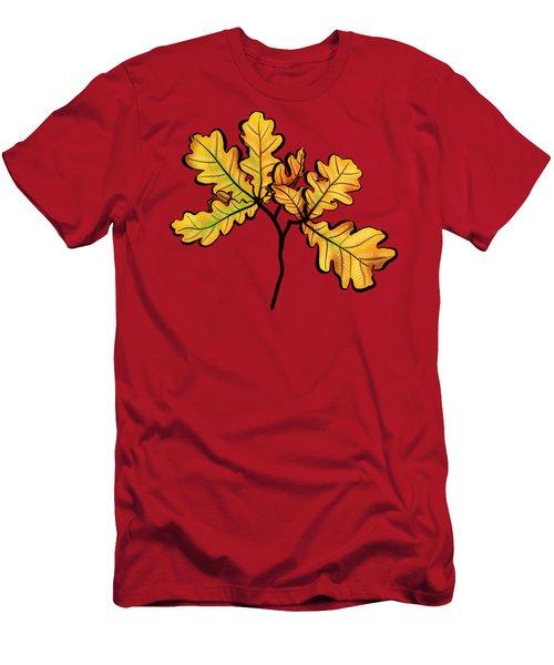 Oak Leaves Autumnal Botanical Art Men's T-Shirt (Athletic Fit)