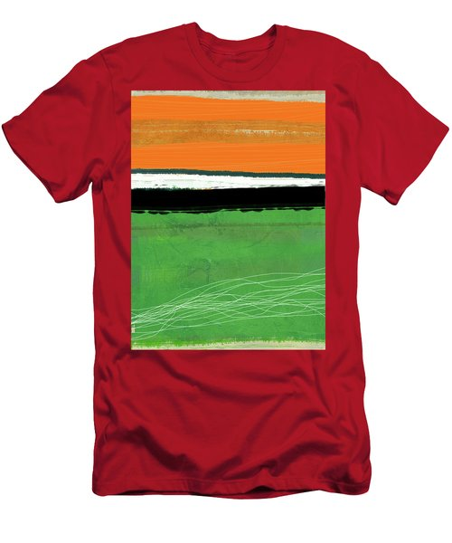 Orange And Green Abstract I Men's T-Shirt (Athletic Fit)