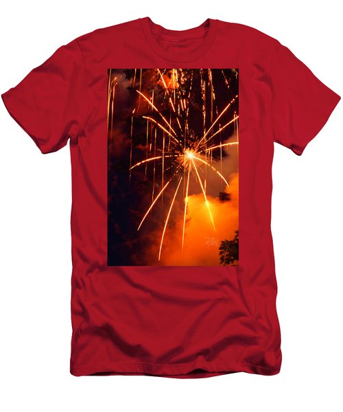 Orange Fireworks Men's T-Shirt (Athletic Fit)