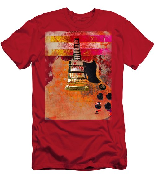 Orange Electric Guitar And American Flag Men's T-Shirt (Athletic Fit)