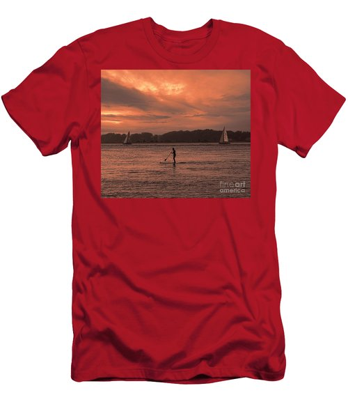 Paddleboarding On The Great Peconic Bay Men's T-Shirt (Athletic Fit)
