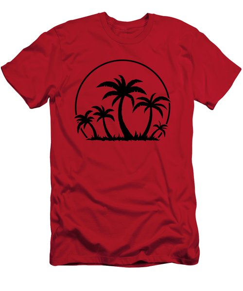 Palm Trees And Sunset In Black Men's T-Shirt (Athletic Fit)