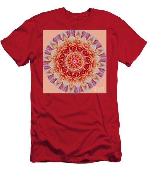 Peach Floral Mandala Men's T-Shirt (Athletic Fit)