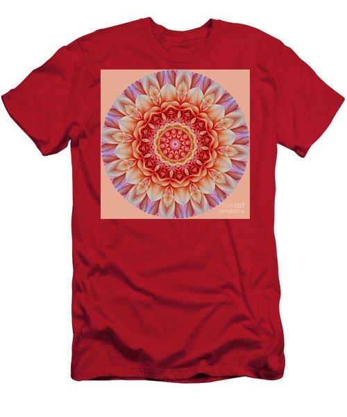 Peach Floral Mandala Men's T-Shirt (Athletic Fit)