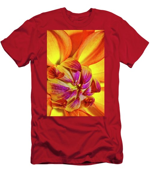 Peach Purple Flower Men's T-Shirt (Athletic Fit)