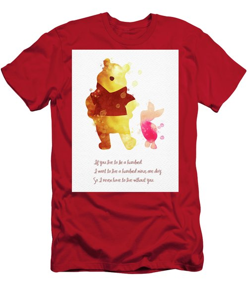 Piglet And Pooh Watercolor 3 Men's T-Shirt (Athletic Fit)