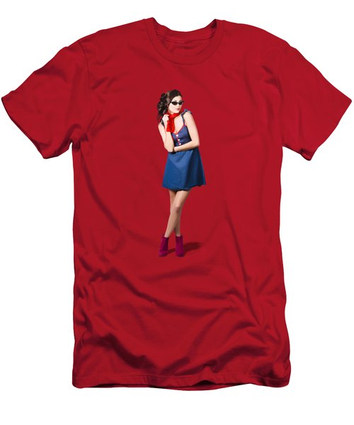 Pin Up Styling Fashion Girl In Retro Denim Dress Men's T-Shirt (Athletic Fit)