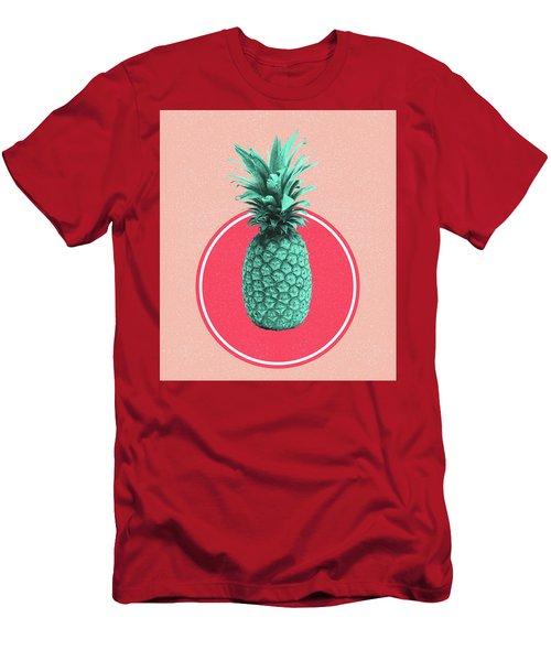 Pineapple Print - Tropical Decor - Botanical Print - Pineapple Wall Art - Blue, Pink - Minimal Men's T-Shirt (Athletic Fit)