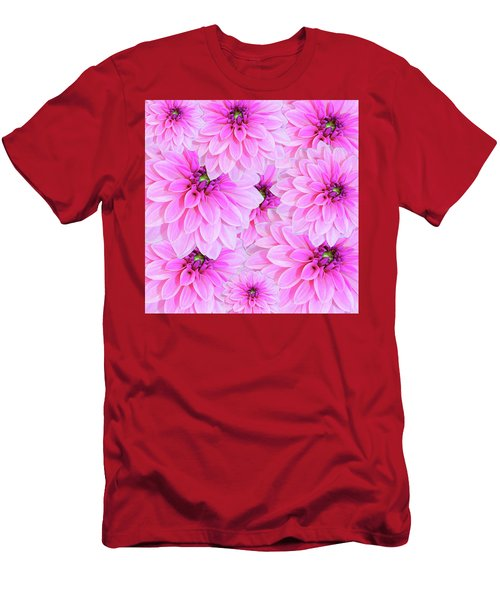 Pink Dahlia Flower Design Men's T-Shirt (Athletic Fit)
