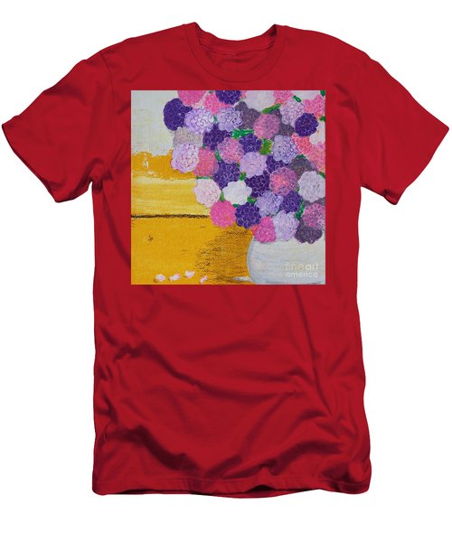 Men's T-Shirt (Athletic Fit) featuring the painting Pink Hydrangeas Or Are They Peonies? by Kim Nelson