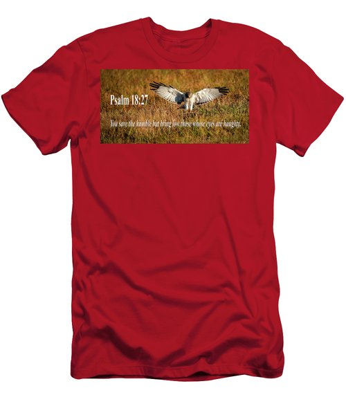 Men's T-Shirt (Athletic Fit) featuring the mixed media Psalm 18 27 Humble by Jeff Phillippi