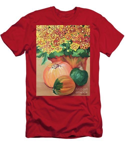 Pumpkin With Flowers Men's T-Shirt (Athletic Fit)