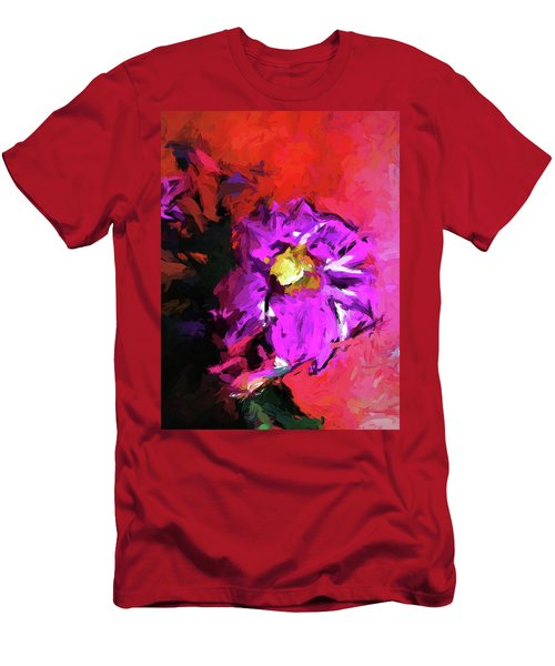 Purple And Yellow Flower And The Red Wall Men's T-Shirt (Athletic Fit)