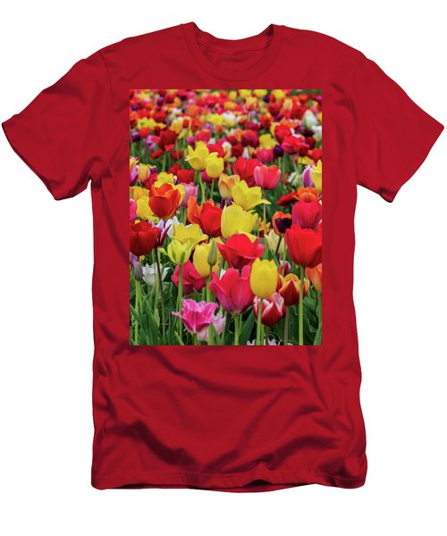 Men's T-Shirt (Athletic Fit) featuring the photograph Red And Yellow Tulips by Louis Dallara