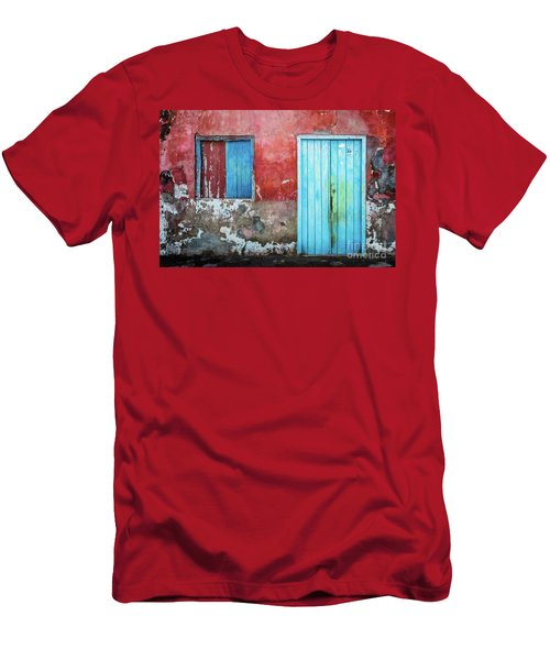Red, Blue And Grey Wall, Door And Window Men's T-Shirt (Athletic Fit)