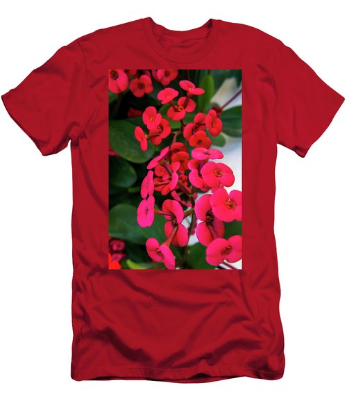 Red Flowers In Bloom Men's T-Shirt (Athletic Fit)