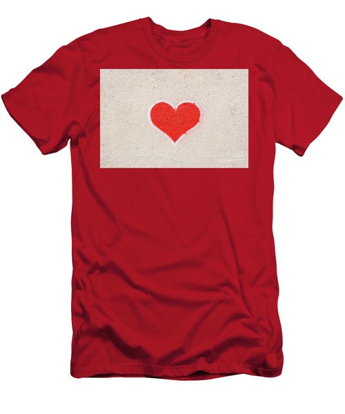 Red Heart Painted On A Wall, Message Of Love. Men's T-Shirt (Athletic Fit)