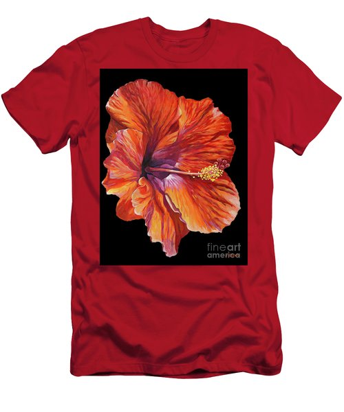 Red Hibiscus On Black Men's T-Shirt (Athletic Fit)