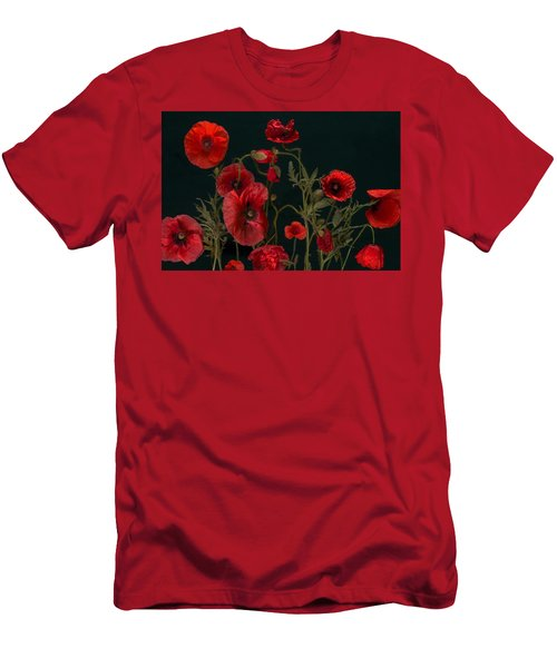 Red Poppies On Black Men's T-Shirt (Athletic Fit)